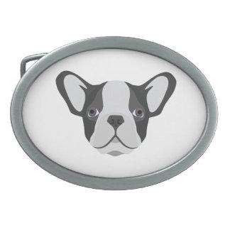 Illustrations-niedliche französische Bulldogge Ovale Gürtelschnallen