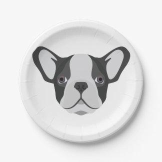 Illustrations-niedliche französische Bulldogge Pappteller