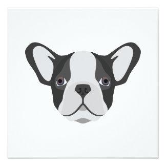 Illustrations-niedliche französische Bulldogge Quadratische 13,3 Cm Einladungskarte