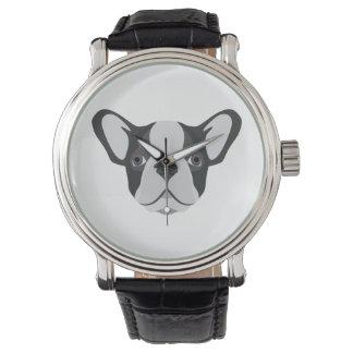 Illustrations-niedliche französische Bulldogge Uhr