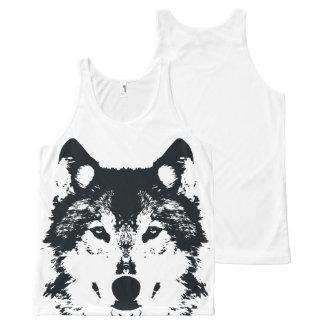 Illustrations-schwarzer Wolf Komplett Bedrucktes Tanktop