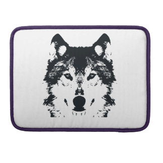 Illustrations-schwarzer Wolf MacBook Pro Sleeve