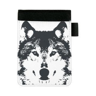 Illustrations-schwarzer Wolf Mini Padfolio