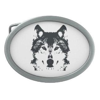 Illustrations-schwarzer Wolf Ovale Gürtelschnallen