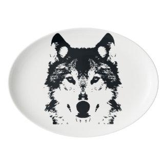 Illustrations-schwarzer Wolf Porzellan Servierplatte