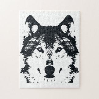 Illustrations-schwarzer Wolf Puzzle