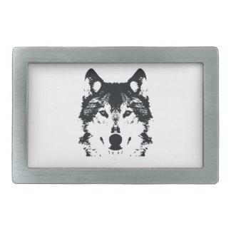 Illustrations-schwarzer Wolf Rechteckige Gürtelschnallen