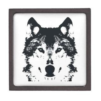Illustrations-schwarzer Wolf Schmuckkiste