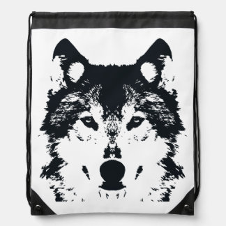 Illustrations-schwarzer Wolf Sportbeutel