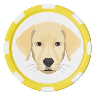 Illustrations-Welpe goldenes Retriver Poker Chips