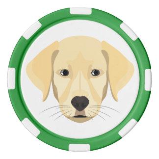 Illustrations-Welpe goldenes Retriver Poker Chips Set