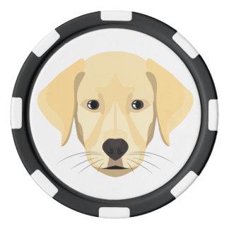 Illustrations-Welpe goldenes Retriver Pokerchips