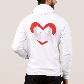 Illustrationsfriedenstauben mit Herzen Hoodie