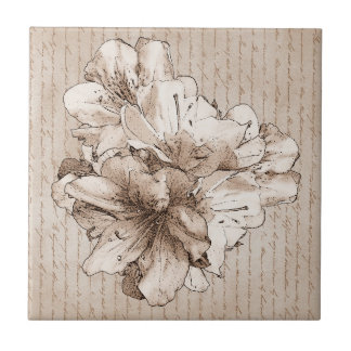 Illustrierte Blumen-BlumenLiebe-Buchstabe Kleine Quadratische Fliese