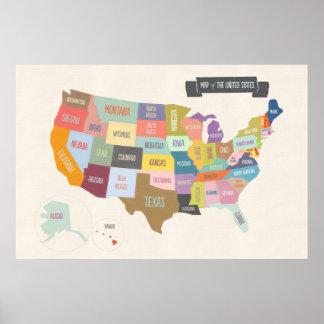 """Illustrierte Karte von Amerika 24 x 6"""" Wand-Plakat"""