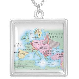 Illustrierte Karte von Europa Versilberte Kette