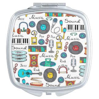 Illustrierte musikalische Gegenstände Taschenspiegel
