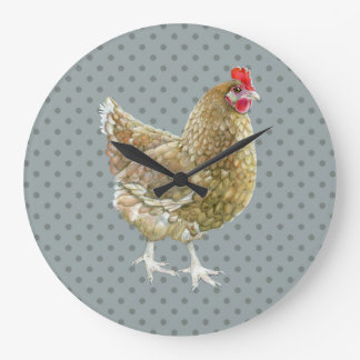 Illustrierte Polka-Punkt-Huhn-Wand-Uhr Große Wanduhr
