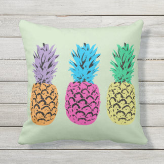 Illustrierter Ananashintergrund Zierkissen