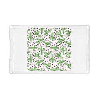 Illustrierter Kaktus u. rosa Blumen-Muster Acryl Tablett