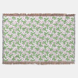 Illustrierter Kaktus u. rosa Blumen-Muster Decke