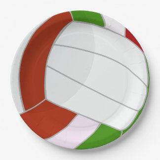 Illustrierter Volleyballentwurf Pappteller 22,9 Cm