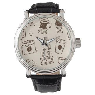 Illustriertes Elementmuster der Brown-Kaffeebohnen Armbanduhr