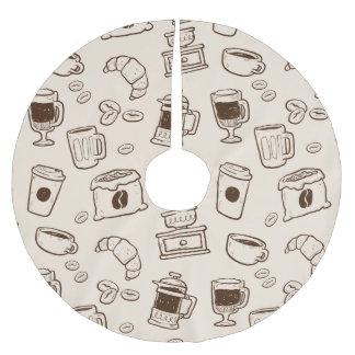 Illustriertes Elementmuster der Brown-Kaffeebohnen Polyester Weihnachtsbaumdecke