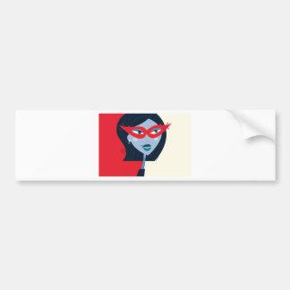 Illustriertes Mädchen mit Maske: Rot und Schwarzes Autoaufkleber