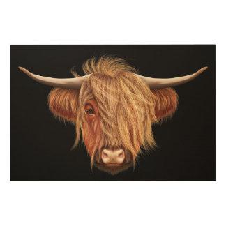 Illustriertes Porträt des Hochlandviehs Holzdruck