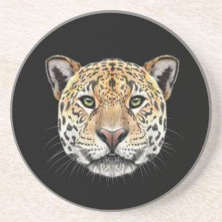 Illustriertes Porträt des Jaguars Sandstein Untersetzer