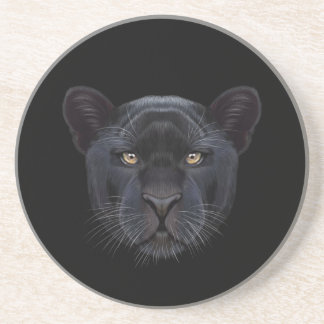 Illustriertes Porträt des schwarzen Panthers Getränkeuntersetzer