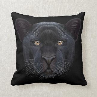 Illustriertes Porträt des schwarzen Panthers Kissen