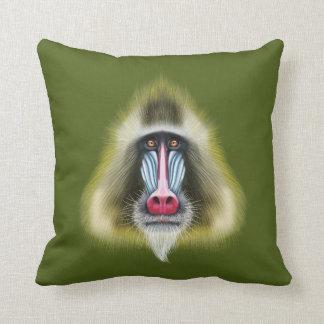 Illustriertes Porträt von Mandrill Affen Kissen