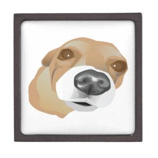 Illustriertes vektorporträt eines kleinen Hundes Schmuckkiste