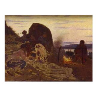 Ilya Repin- Lastkahn-Schlepper durch Lagerfeuer Postkarte