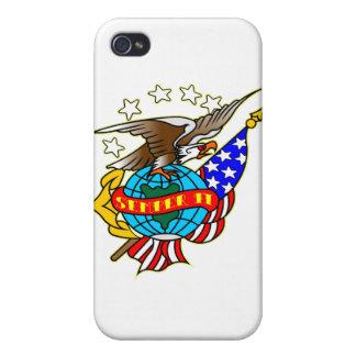 Im altem Stil Tätowierungs-Eagle-Flagge Semper FI iPhone 4 Schutzhüllen