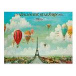 Im Ballon aufsteigen über Vintager Reise-Postkarte