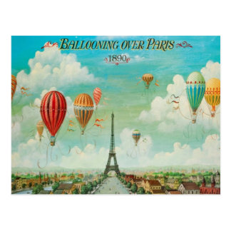 Im Ballon aufsteigen über Vintager Reise-Postkarte Postkarten