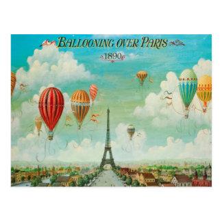 Im Ballon aufsteigen über Vintager Reise-Postkarte Postkarte