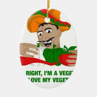 Im ein Vegetarier und i-Liebe mein Gemüse Ovales Keramik Ornament