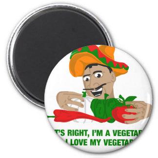 Im ein Vegetarier und i-Liebe mein Gemüse Runder Magnet 5,1 Cm