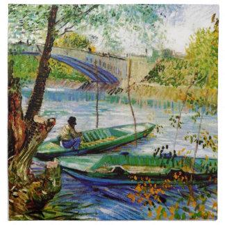 Im Frühjahr fischen, Vincent van Gogh. Schöne fis Stoffserviette