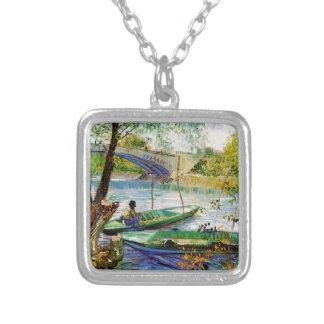 Im Frühjahr fischen, Vincent van Gogh. Schöne fis Versilberte Kette