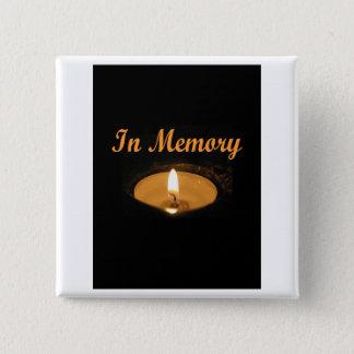 Im Gedächtnis-Kerzen-Glühen Quadratischer Button 5,1 Cm