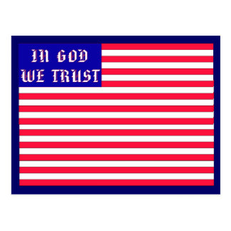 Im Gott vertrauen wir amerikanischer Flagge Postkarte