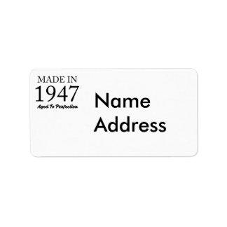 Im Jahre 1947 gemacht Adressaufkleber