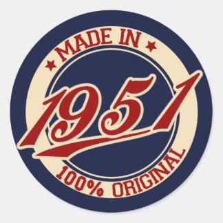 Im Jahre 1951 gemacht Runder Aufkleber