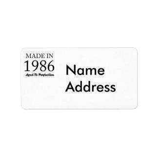 Im Jahre 1986 gemacht Adressaufkleber