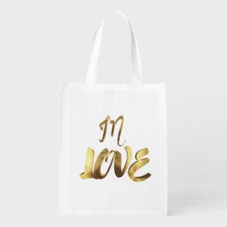 Im Liebe-Zitat-Goldblick-Typografie-romantischen Wiederverwendbare Einkaufstasche